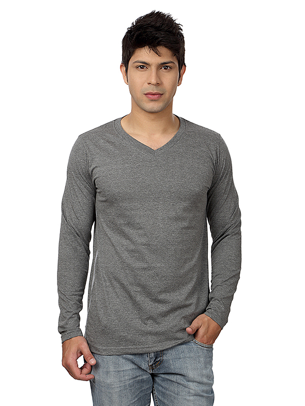 V Neck Long Sleeve T-Shirt Grey