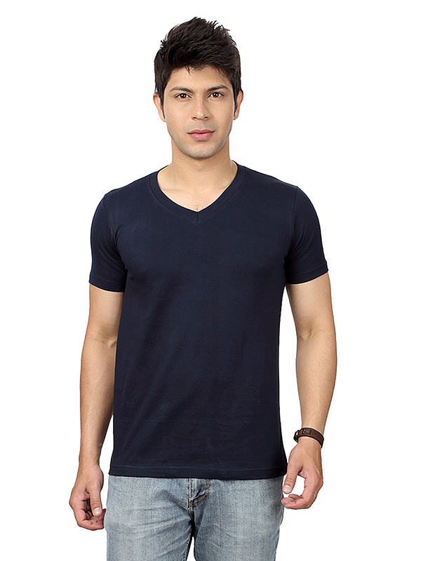 V Neck Short Sleeve T-Shirt Navy Blue